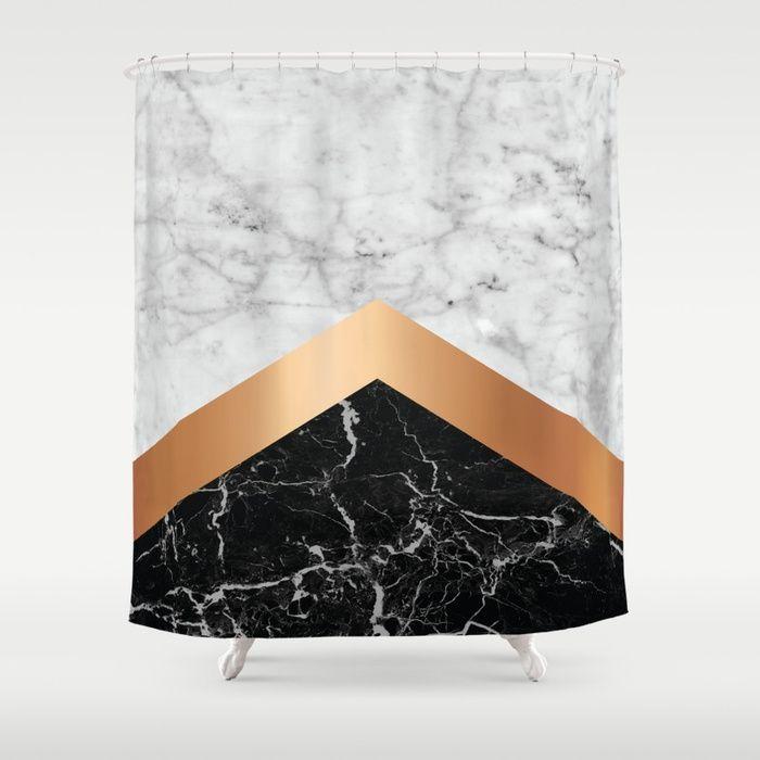 Arrows White Marble Rose Gold Black Granite 799 Shower