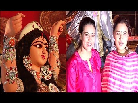 Kajol with cousin Sharbani Mukherjee attends Durga Puja 2016.