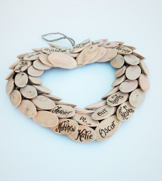Personalised driftwood heart wreath Wedding by CoveCalligraphy