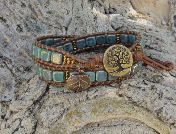 Turquoise Tree of Life leather wrap bracelet with CzechMates and Toho beads, vintaj leaf charm and brass TierraCast button