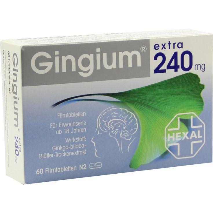 GINGIUM extra 240 mg Filmtabletten:   Packungsinhalt: 60 St Filmtabletten PZN: 08828454 Hersteller: Hexal AG Preis: 60,92 EUR inkl. 19 %…