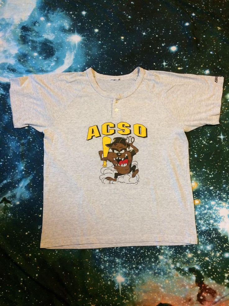 Vintage ACSO Bootleg Taz Bike Brand Over Sized Baseball T-Shirt by VintageVanShop on Etsy