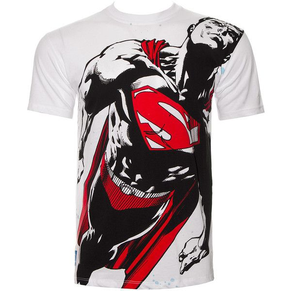 DC Comics Superman Flight Path T Shirt (White) ($23) ❤ liked on Polyvore featuring tops, t-shirts, white t shirt, white tee and white tops