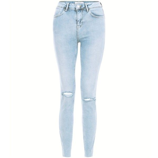 New Look Light Blue Acid Wash Ripped Knee Skinny Jeans (44 CAD) ❤ liked on Polyvore featuring jeans, pants, bottoms, calças, shorts/pants, wedgewood blue, white ripped jeans, destroyed skinny jeans, white ripped skinny jeans and distressed skinny jeans