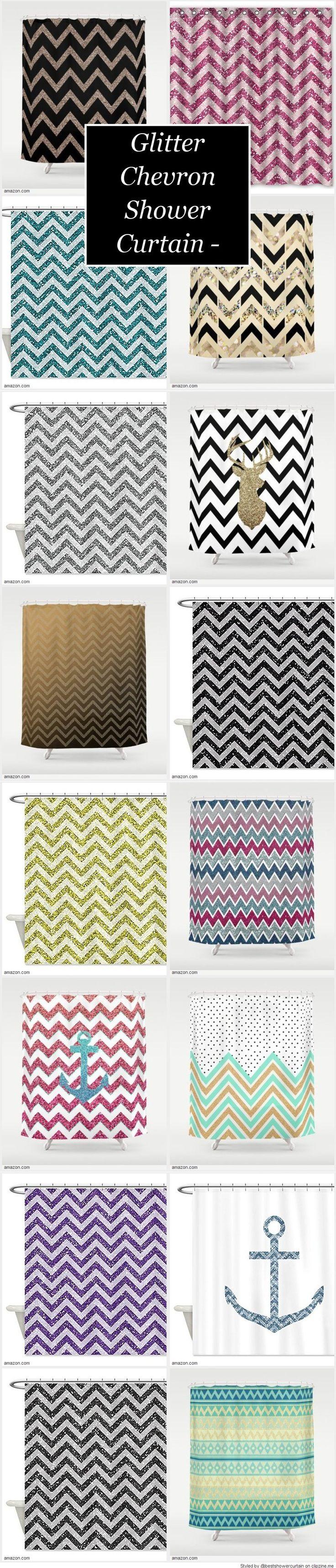 Aqua chevron shower curtain - Black And Tan Chevron Shower Curtain Pretty Glitter Chevron Shower Curtain Designs Sales And Discounts