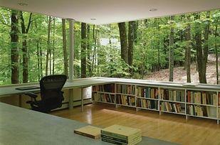 A library office room with big windows. [ Specialtydoors.com ] #office #hardware #slidingdoor
