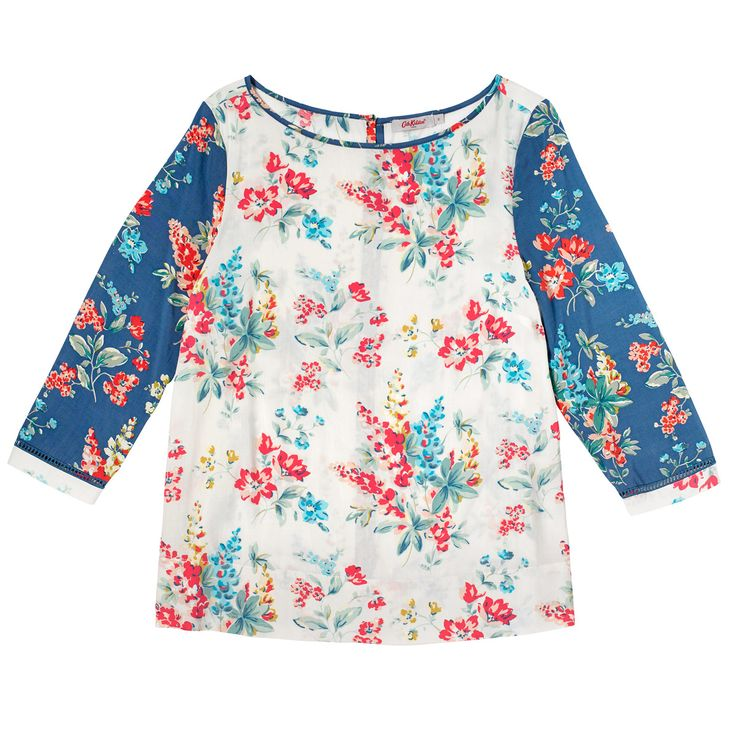 Lupin Contrast Print Viscose Top | Tops & Blouses | CathKidston
