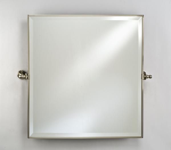 Afina 24X24 Square Frame Mirror With Brass Gear Style Trim Satin Nickel