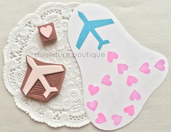 Airplane and Heart  Valentines Day  hand carved stamp by miniatureboutique