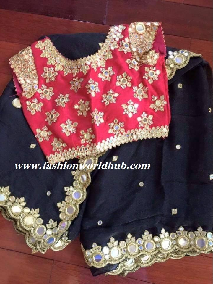 Mirror Work Saree and Blouse   Fashionworldhub                                                                                                                                                                                 More