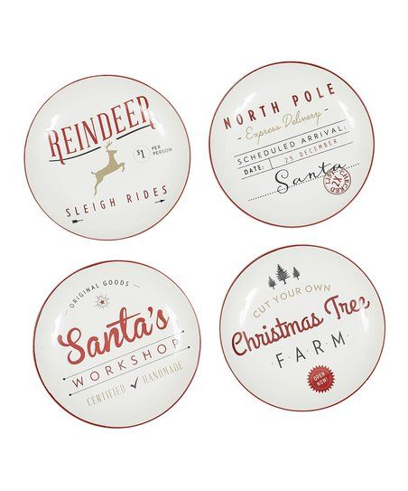 Design Imports Red & White Santas Workshop Appetizer Plate - Set of Four | zulily
