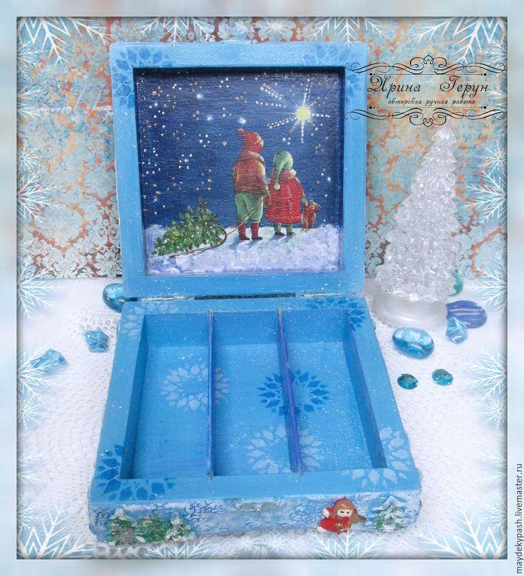 """Купить Шкатулка """"Зимняя сказка"""" - шкатулка деревянная, шкатулка, шкатулка для украшений, шкатулка ручной работы"""