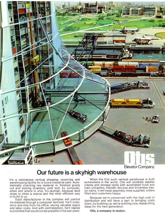 JOHN BERKEY - Skyhigh Warehouse - 1975 Otis Elevator Company AD
