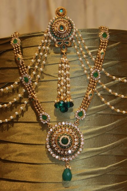 Decorative Hair Accessory or saree belt teamed with Green Haar Necklace. A perfect match. Necklace comes with earrings and tikka.