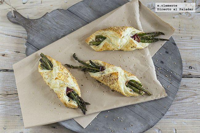 Receta de pañuelos de espárragos y espinacas con queso crema. Receta con fotos del paso a paso y sugerencias de presentación. Recetas de aperiti...