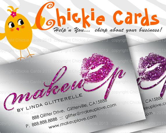 21 best makeup business cards images on pinterest business cards items similar to makeup business card glitter lips cosmetology on etsy reheart Image collections