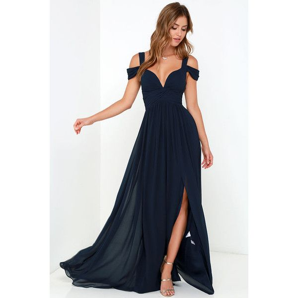 Bariano Ocean of Elegance Navy Blue Maxi Dress ($179) ❤ liked on Polyvore featuring dresses, gowns, navy blue evening gown, blue evening gown, off the shoulder evening gown, ruched evening gown and blue prom dresses
