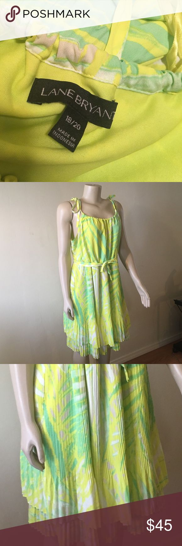 Layne Bryant Bright Pleated Dress Layne Bryant Yellow and Green Festive Dress. Ties at Shoulders and Waist, two Teirs of Pleats.  wrinkle Free. Layne Bryant Dresses Midi