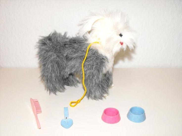 "• Original Barbie-Hund Bobtail ""Bonnie""• Zubehör: 2 Fressnäpfe, Medaille, Bürste…"