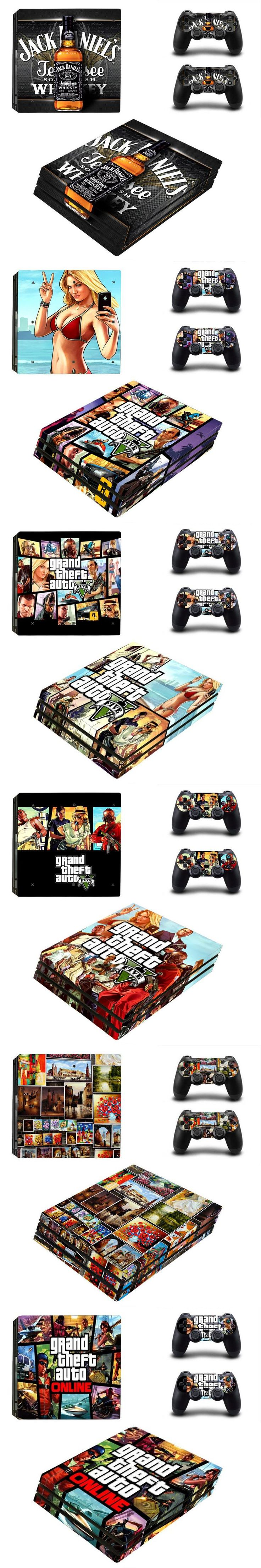 For Sony PS4 Pro Vinyl Skin Sticker Cover For PS4 Pro Controle For Playstation 4 Pro Console Sticker +2 Controller Gamepad Decal
