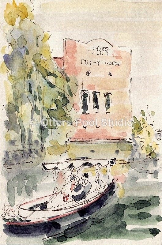 """Wey Wedding II"" by Barbara Hughes  Scene depicting a river wedding in front of the former Guildford Electricity works on the River Wey.   Open Edition fine art print from an original watercolour.   Approx image size: 10x15cm"