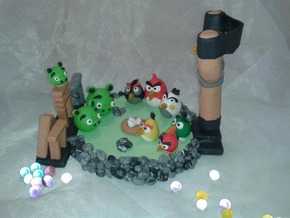 Angry Birds cake topper  decoration by NatuDesigns on Etsy, $19.99