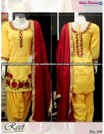 Give yourself a stylish & designer look with this Captivating Yellow Embroidered Punjabi Suit. Embellished with Embroidery work and lace work. Available with matching bottom & dupatta. It will make you noticable in special gathering. You can design this suit in any color combination or on any fabric. For more details whatsapp us on +919915178418