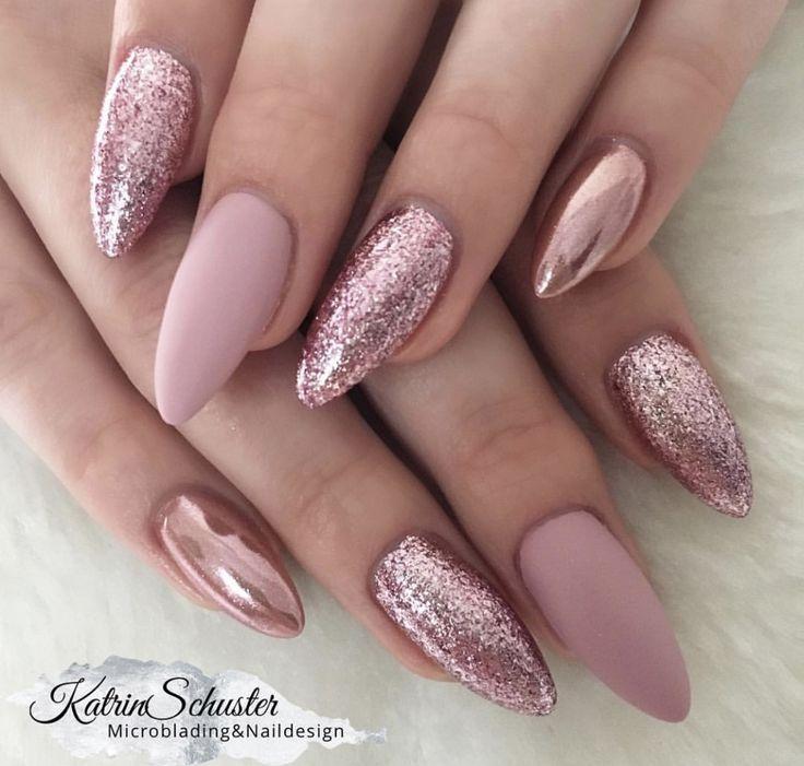 Pink gefrostet und Glitzernägel – # Glitzernägel #matt # pink #and – Nagel Kunst