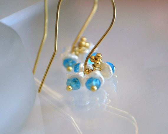 Blue Topaz and Keshi Pearls by ChaninBijoux on Etsy, $47.00