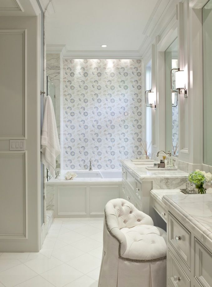 White And Aqua Bathroom With Marble Vanity Top And Shower By Barclay Butera  Interiors.