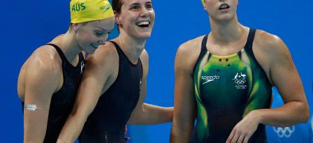 RIO DE JANEIRO, BRAZIL - AUGUST 06: Madison Wilson, Bronte Campbell and Brittany Elmslie of Australia celebrate winning heat two of the Women's 4x100m Freestyle Relay on Day 1 of the Rio 2016 Olympic Games at the Olympic Aquatics Stadium on on August 6, 2016 in Rio de Janeiro, Brazil. © 2016 Getty Images