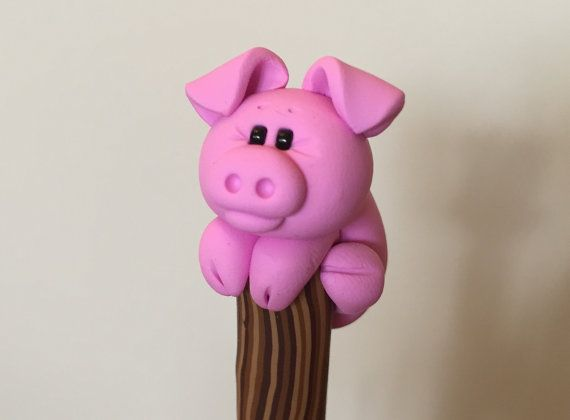 Polymer Clay rose cochon stylo à bille