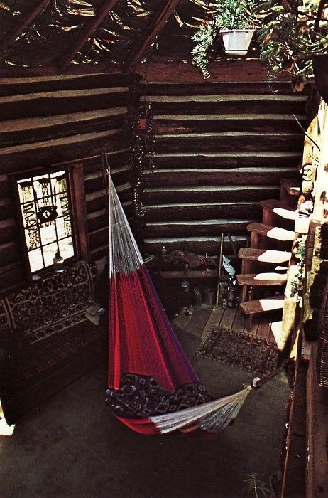 hammockDecor, Spaces, Indoor Hammocks, Dreams, Rustic Cabin, Trees House, Places, Logs Cabin, Spirals Staircas
