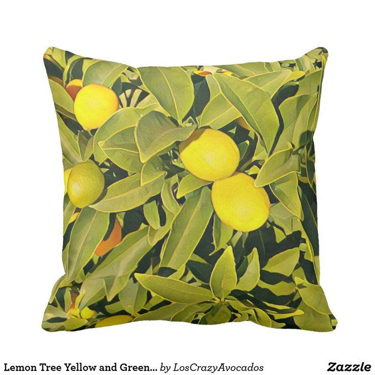Lemon Tree Yellow and Green Throw Pillow
