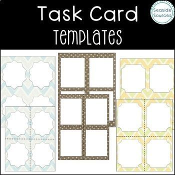 These includes 40 pages and are a fun assortment of shapes, styles and backgrounds! They include color, black/white and transparent images! They come with and without cut lines. They are designed to save teachers and resource creators time! These templates can be used for task cards or flashcards. task cards, task card templates, flash cards, flash card templates, templates for tpt sellers, templates for teachers