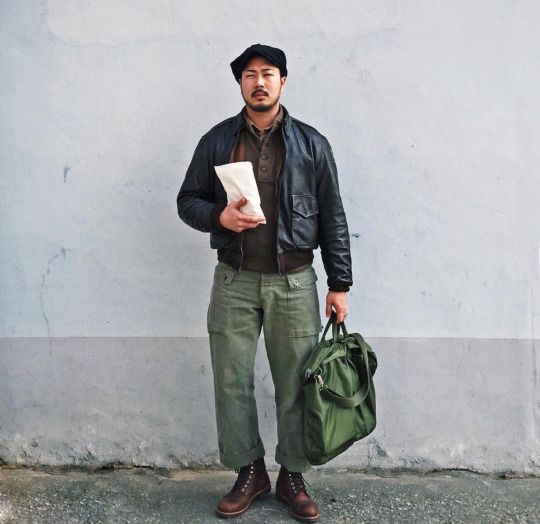 TC = khaki shirt + US army wool sweater + P42 olive pants + A2 jkt + work boot