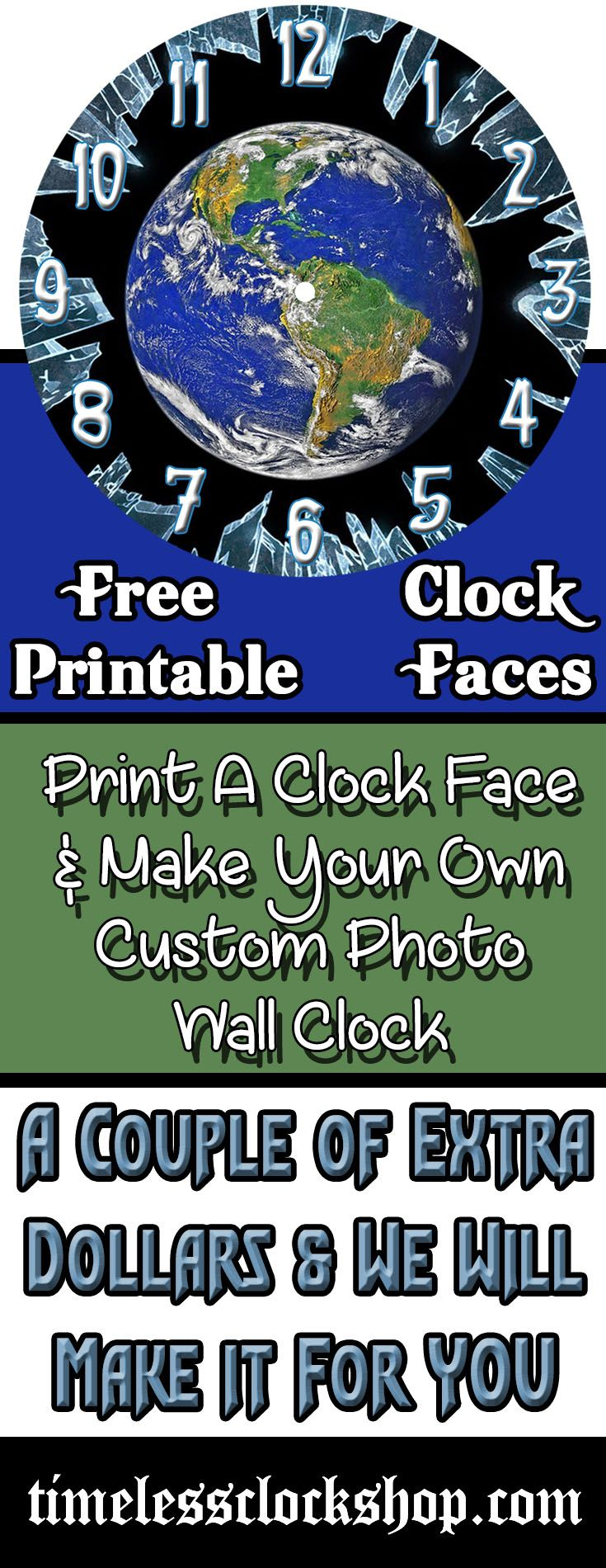 "Make Your Photo Wall Decor Absolutely Original, With A Personalized Wall Clock.   If You Are Looking For Creative Gift Ideas, Sincerely Thoughtful Gifts, Or That ""Challenging"" Gifts For Wife, The Timeless Clock Shop Can Help.  FREE Pics and Graphics To Aid With Your Online Clock Designs or Your DIY Wall Decor."