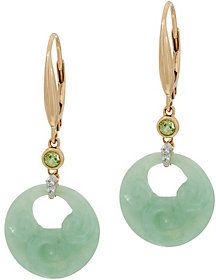 QVC Carved Burmese Jade Lever Back Earrings 14K Gold