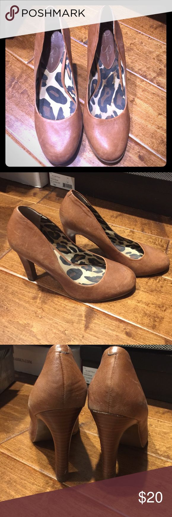 Jessica Simpson pumps Round toe brown leather pumps with a wood heel! Minor scuff on the heel and some normal leather aging. Jessica Simpson Shoes Heels