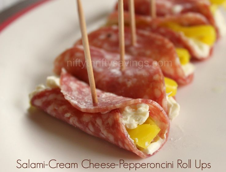 Never thought about adding pepperoncini. Yummy. Salami-Cream Cheese-Pepperoncini Roll Ups appetizer idea