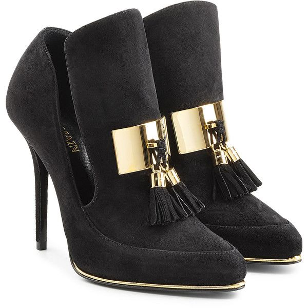 Balmain Suede Loafer Pumps ($1,255) ❤ liked on Polyvore featuring shoes, black, suede loafers, black high heel shoes, suede tassel loafers, loafer shoes and high heel stilettos