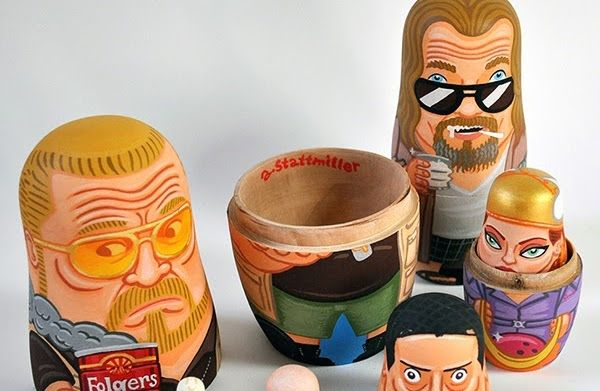 San Francisco-based designer Andy Stattmiller has certainly won my heart over with these excellent matryoshka dolls that pay homage to everyone's favorite late-'90s bowling-themed stoner movie, The Big Lebowski by Joel and Ethan Coen. Die-hard fans of the movie won't need to be told that the dolls represent, in descending order, Walter Sobchak, The Dude, Jesus, Maude Lebowski, The Big Lebowski, The Stranger, and the innocent marmot that gets tossed into the Dude's bathtub. Wait: No Donny? No…