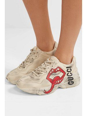 9c43d121b Gucci Rhyton Logo-Print Leather Sneakers in 2019 | shoesies | Gucci ...