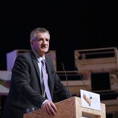 French presidential election candidate Jean Lassalle delivers a speech at the CAF