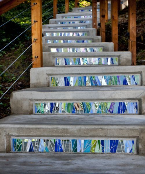 Waterfall Stair Risers By Jennifer Kuhns The Concrete Stair Risers Lead  From A Private Home To