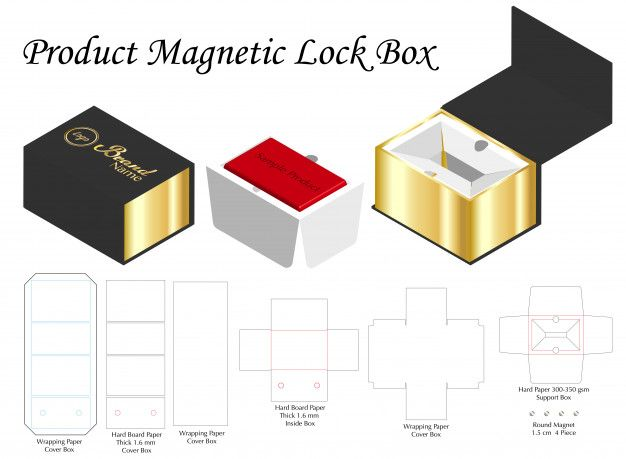 Rigid Magnet Box Template 3d Mockup With Dieline Box Template Packaging Template Design Matchbox Template