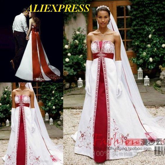 Red And White Wedding Dresses Stain Corset Embrdiery Custom Court Train Bridal Gowns. Aliexpress Brautkleider Robes de mariée