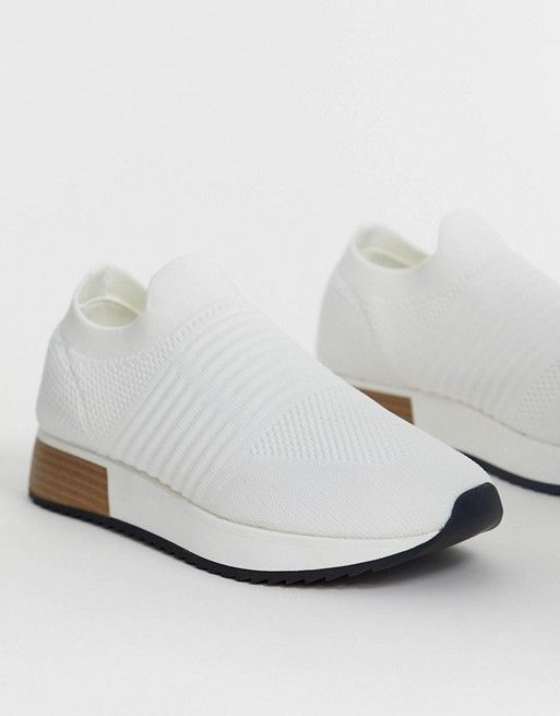 River Island knitted trainers in white