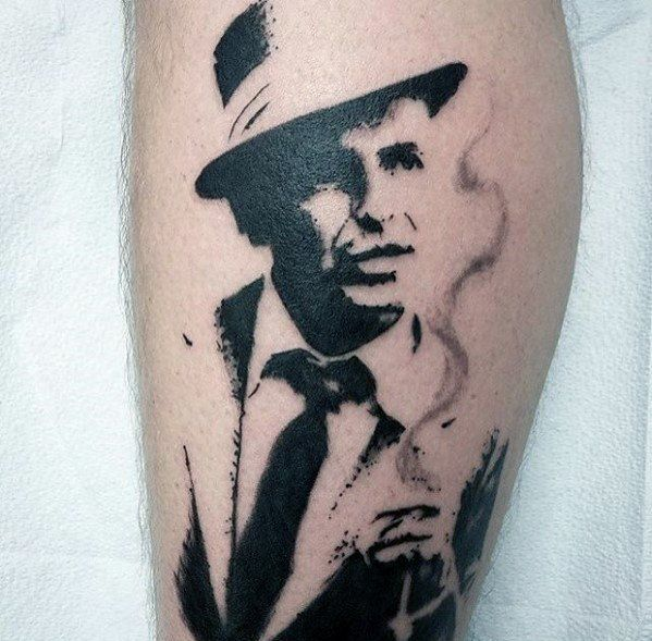Sharp Frank Sinatra Portrait Side Of Leg Negative Space Male Tattoo Ideas