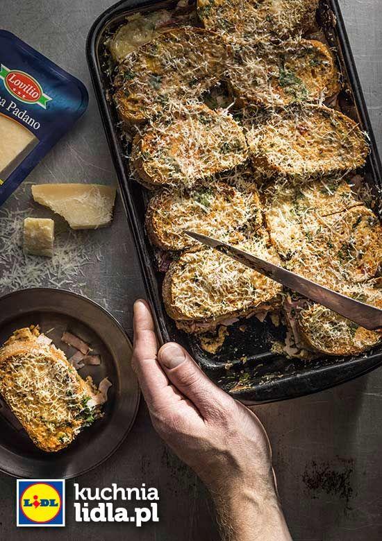 Zapiekanka chlebowo-musztardowa z szynką. Kuchnia Lidla - Lidl Polska. #lidl #chrupiacezpieca